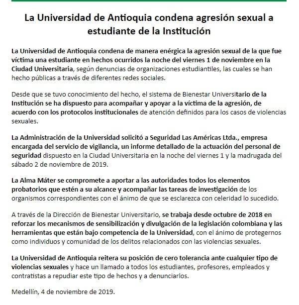 Comunicado Universidad de Antioquia