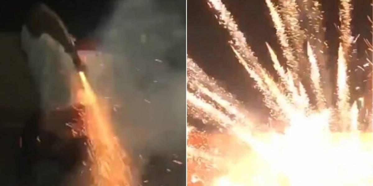 Vídeo viral de homem soltando fogo de artifício de lugar inusitado chama atenção nas redes sociais
