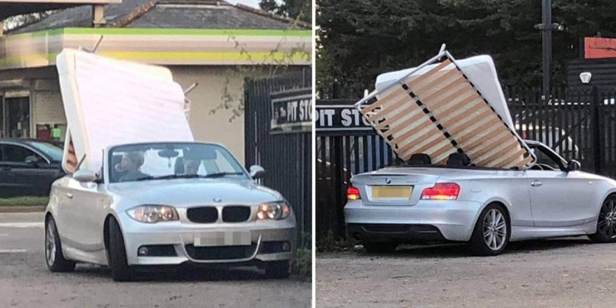 Mulher é flagrada transportando cama de casal em BMW conversível e se torna 'viral'