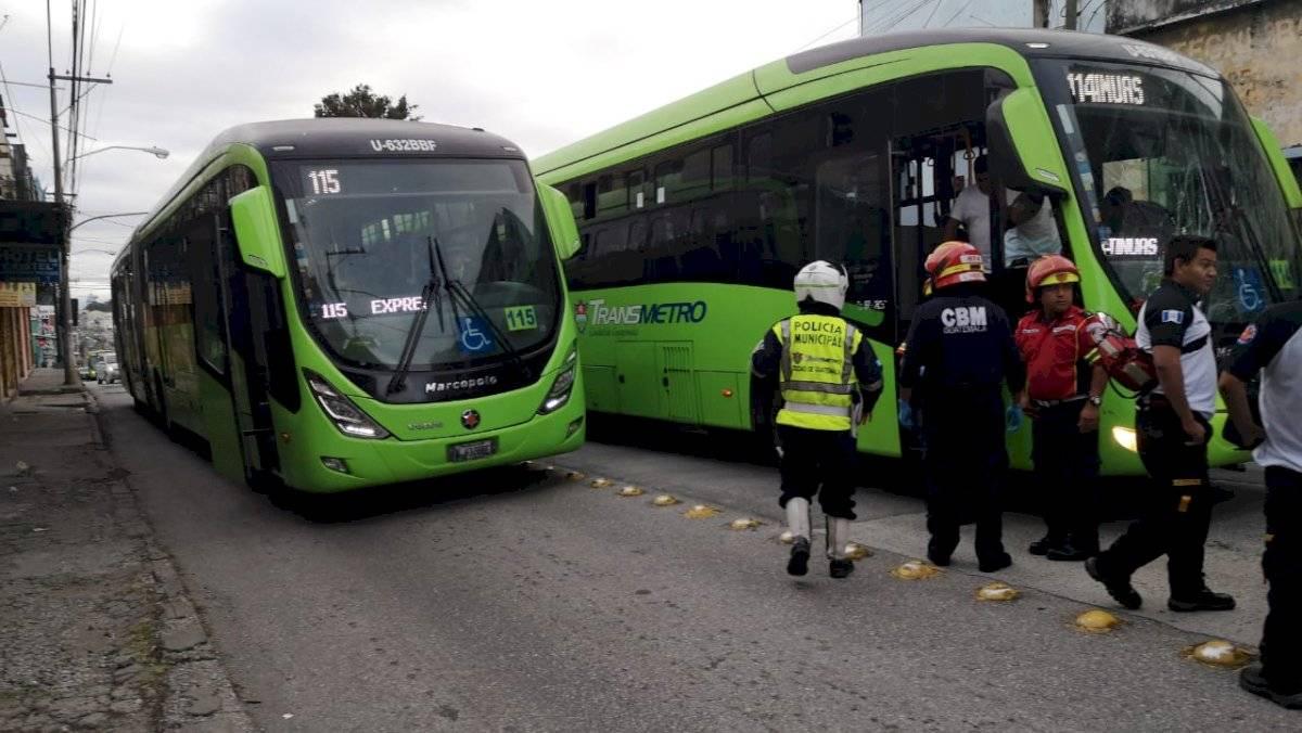 accidente de Transmetro en zona 1