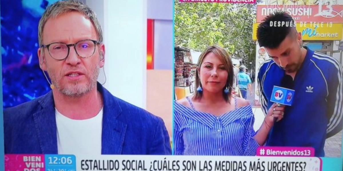 """""""No es la forma"""": Martín Cárcamo enfrenta a director de """"Bienvenidos"""" para no sacar del aire a manifestante"""