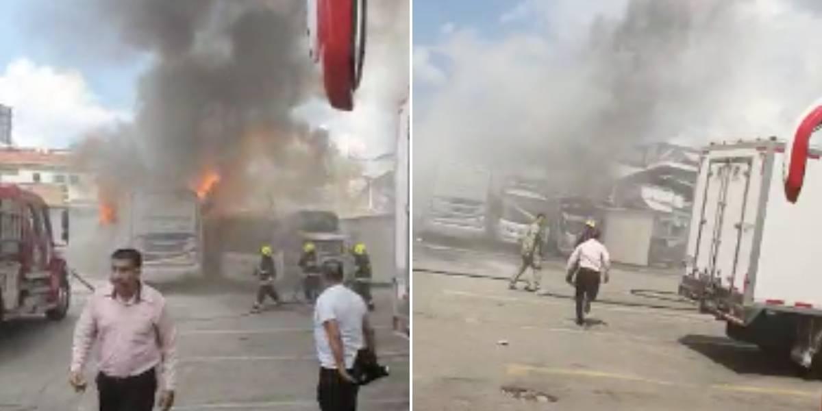 (VIDEO) Bus de servicio público se prendió en llamas