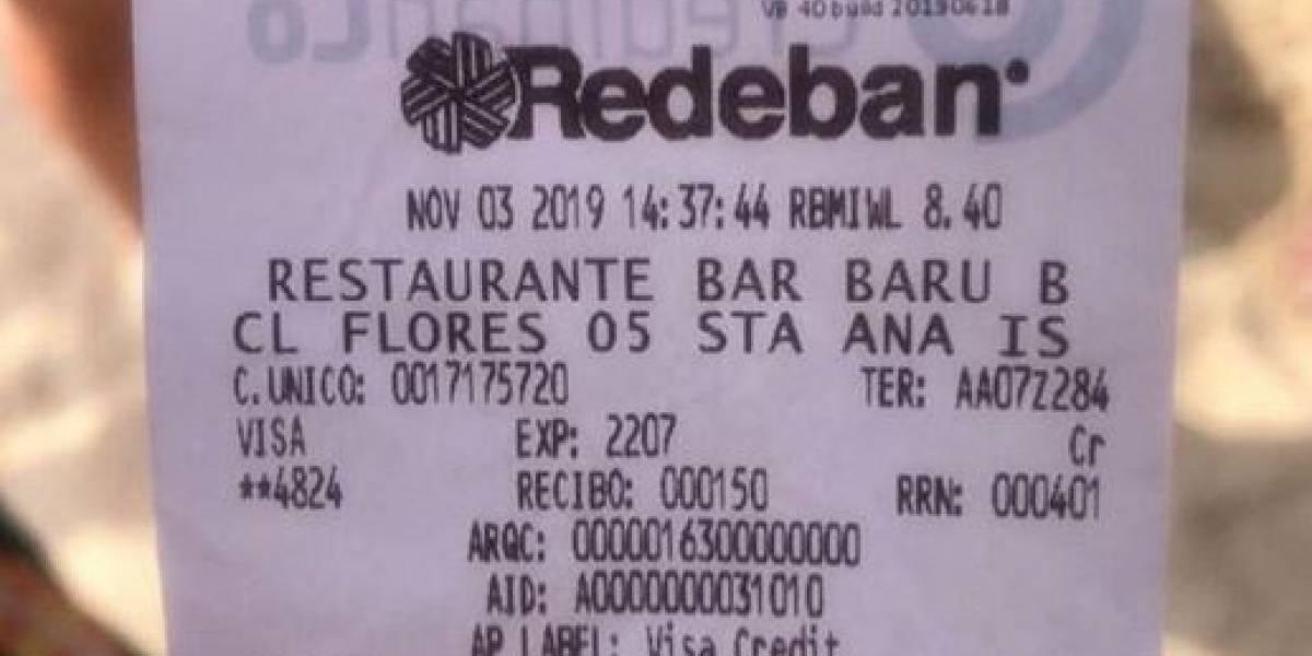 Dos almuerzos costaron casi 3 millones de pesos a turistas en Cartagena