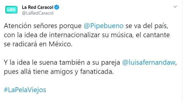 Luisa Fernanda W y Pipe Bueno se irían a vivir fuera del país