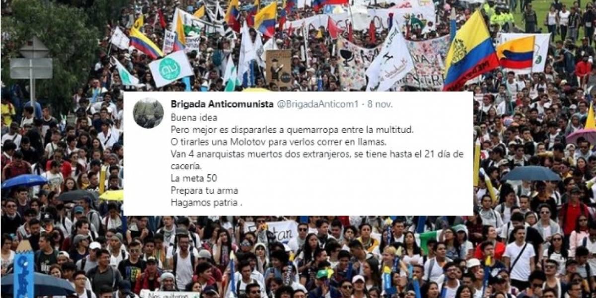 Cuenta en Twitter dice que hay 'paras' listos para matar a manifestantes el 21 de noviembre