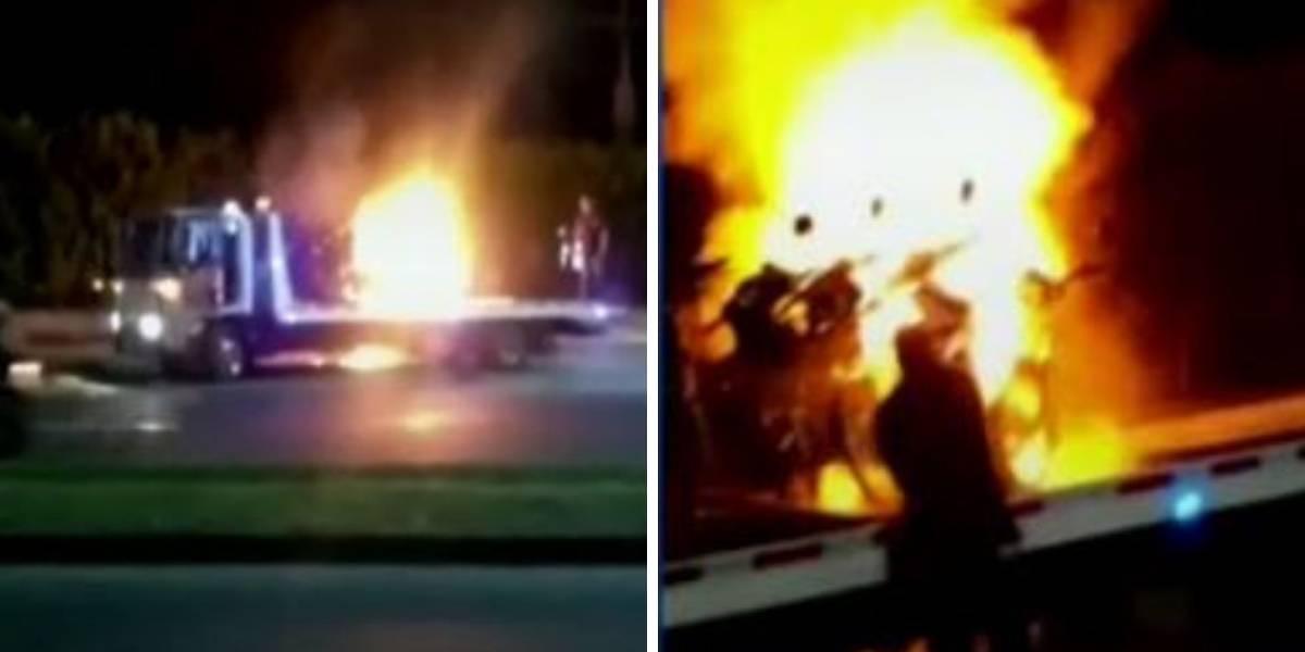 (VIDEO) Dos Hombres prendieron fuego a moto que iba a ser inmovilizada
