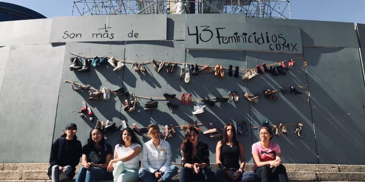 Colocan contador de feminicidios en el Ángel de la Independencia