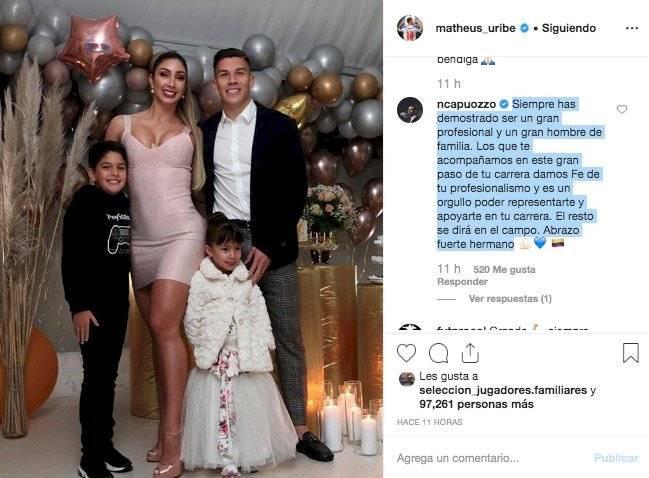 Quintero defendió a Mateus Uribe