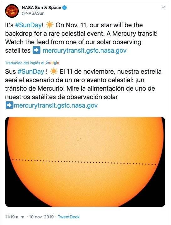 Plano de tránsito de Mercurio sobre el sol