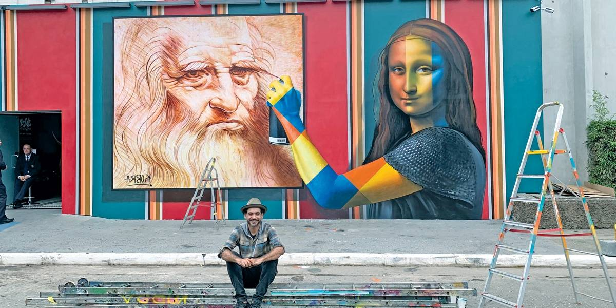 Kobra homenageia Da Vinci em muro do MIS Experience