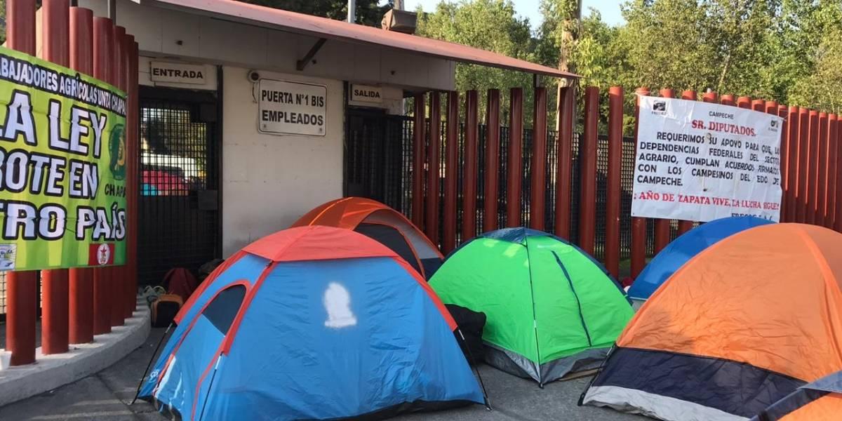 Campesinos protestan en San Lázaro por mayor presupuesto