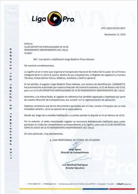 Comunicados de prensa caso Jorge Pinos Twitter (@IDV_EC)