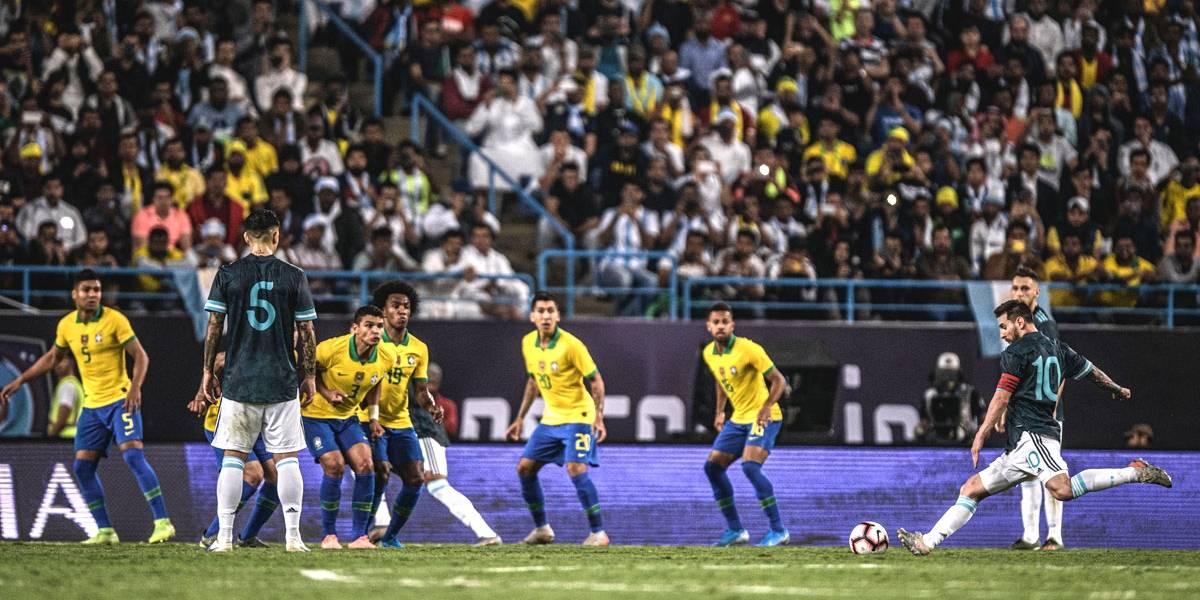 Messi marca e garante vitória da Argentina sobre o Brasil