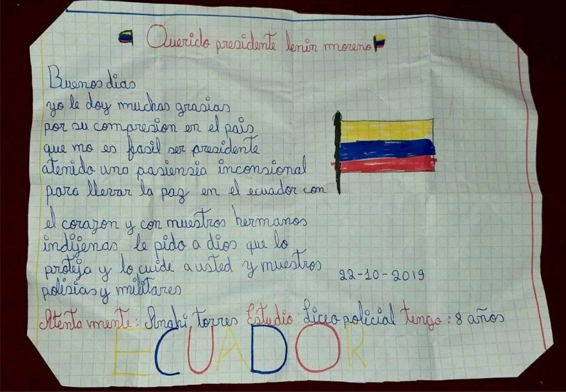 Carta de Anahí a Lenín Moreno