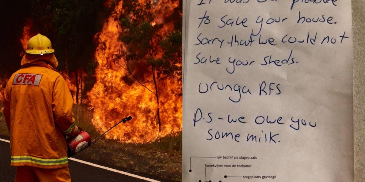 Bomberos salvaron casa en incendio en Australia y se disculparon con el dueño por tomarse su leche