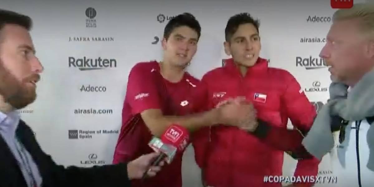 """""""Bien jugado, fantástico"""": Boris Becker sorprende en transmisión de TV para felicitar a Barrios y Tabilo en la Copa Davis"""