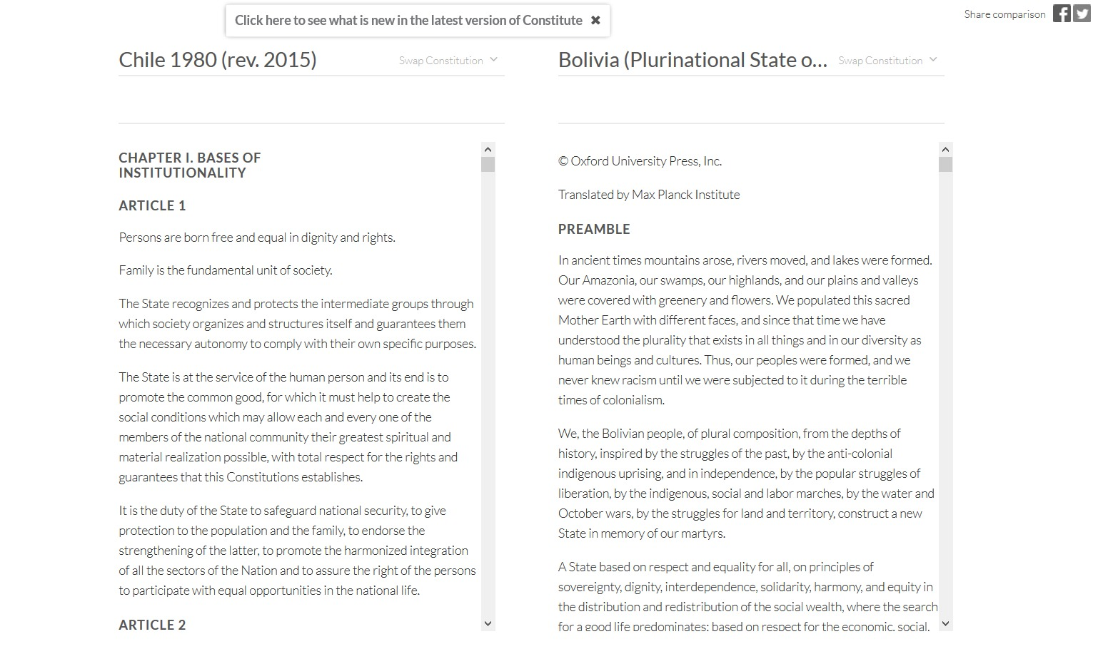Constituciones Chile y Bolivia