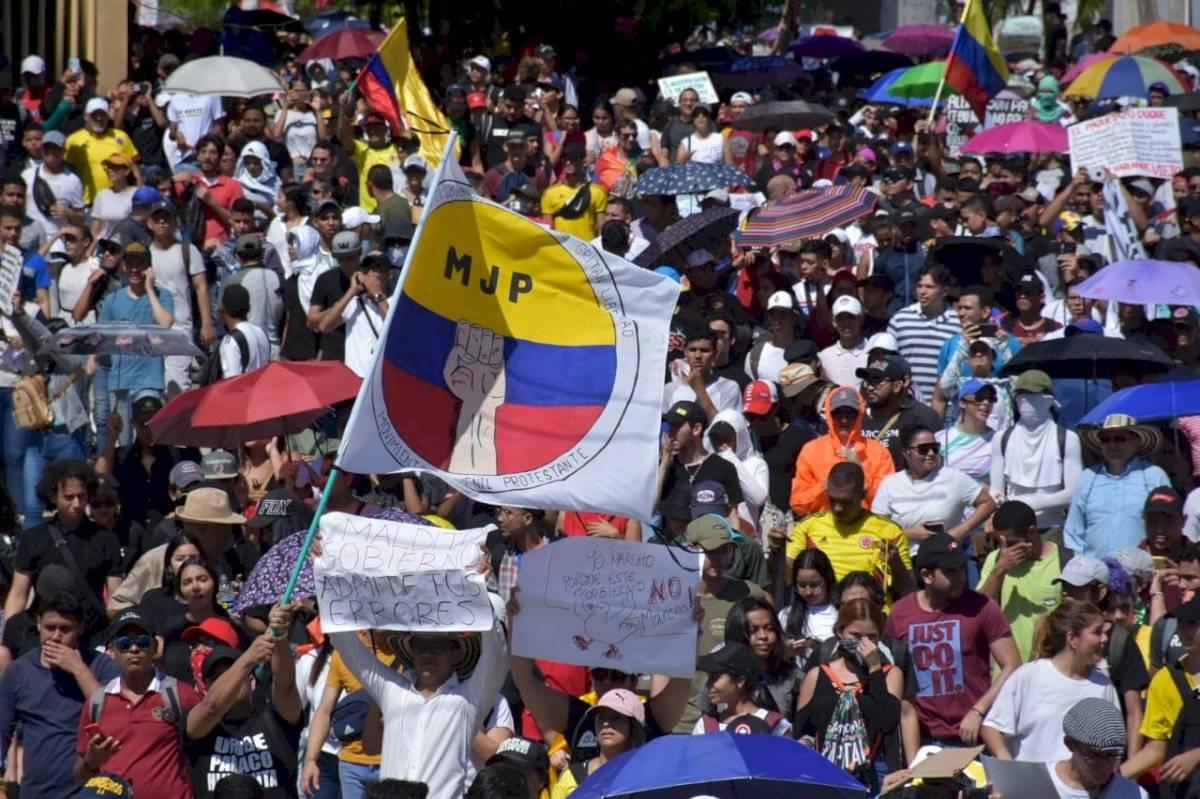 Contingentes aglomerados durante la protesta María Paula Suárez/Publimetro Colombia