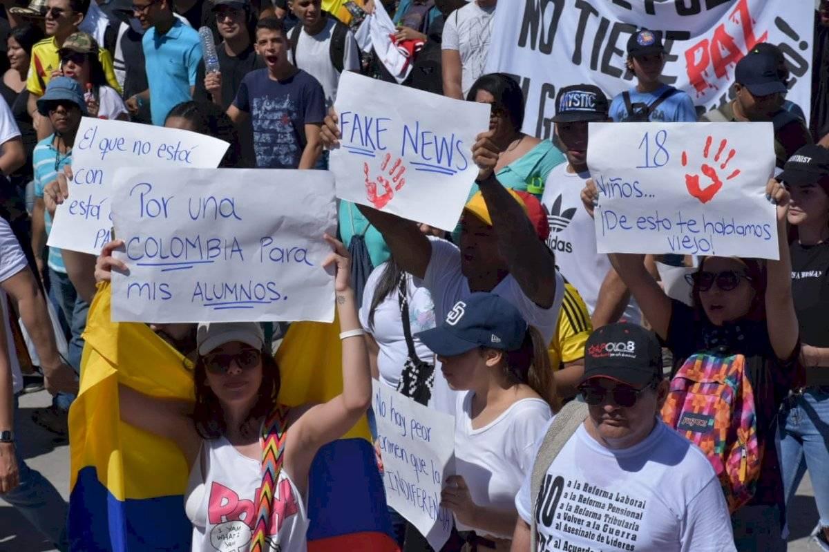"""Los manifestantes también arremetieron contra las """"Fake News"""" o noticias falsas María Paula Suárez/Publimetro Colombia"""