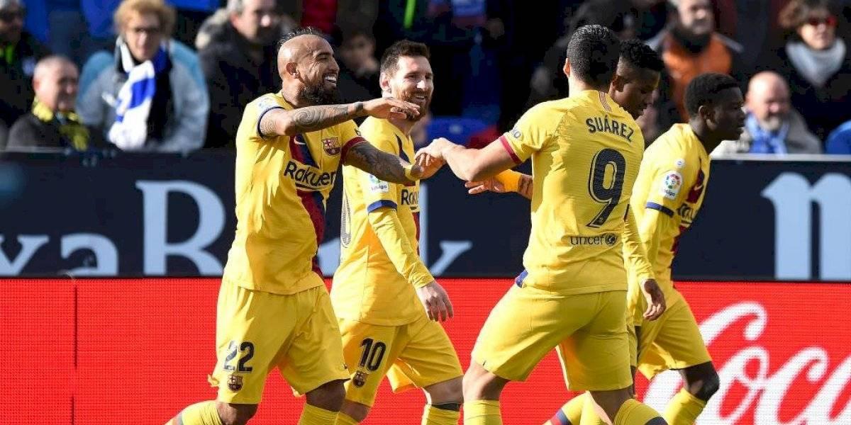 Arturo Vidal anotó el gol del triunfo del Barcelona ante Leganés y es el líder de la Liga española
