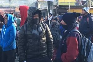 manifestación de los 48 cantones de Totonicapán en ruta Interamericana