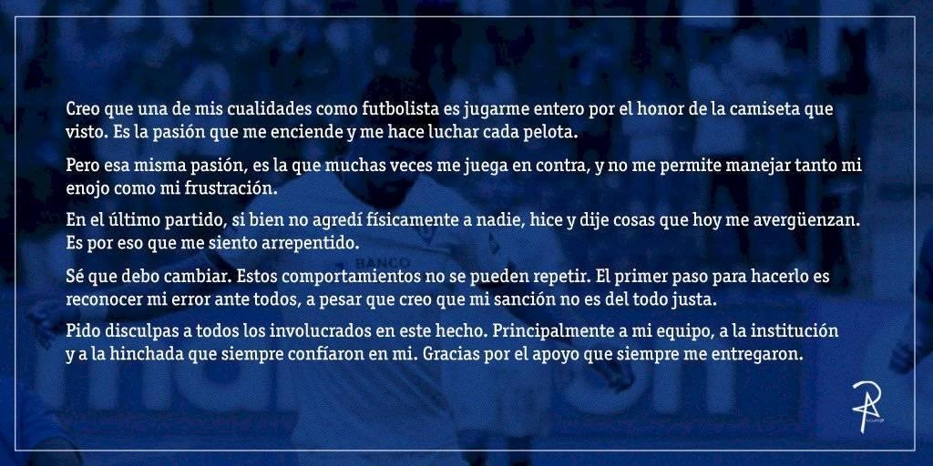 Comunicado de Rodrigo Aguirre, jugador de Liga de Quito