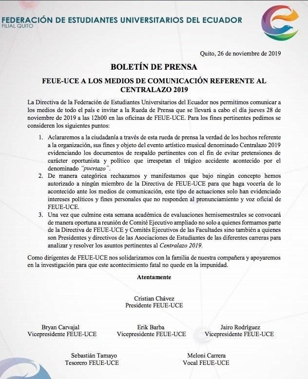 FEUE-UCE envía nuevo comunicado sobre el