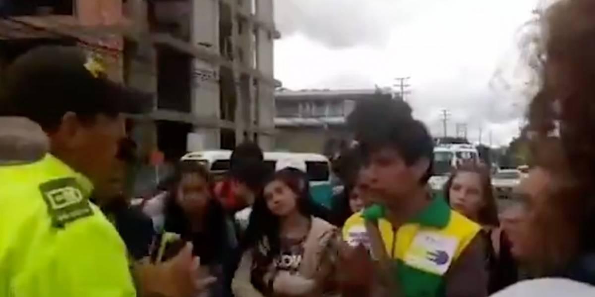 (Video) Policía y manifestantes llegaron a acuerdo para marchar en paz y no agredirse en Tunja