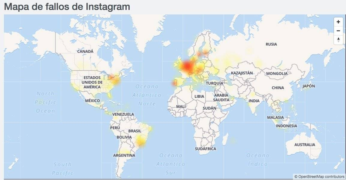 Mapa de fallos en Instagram