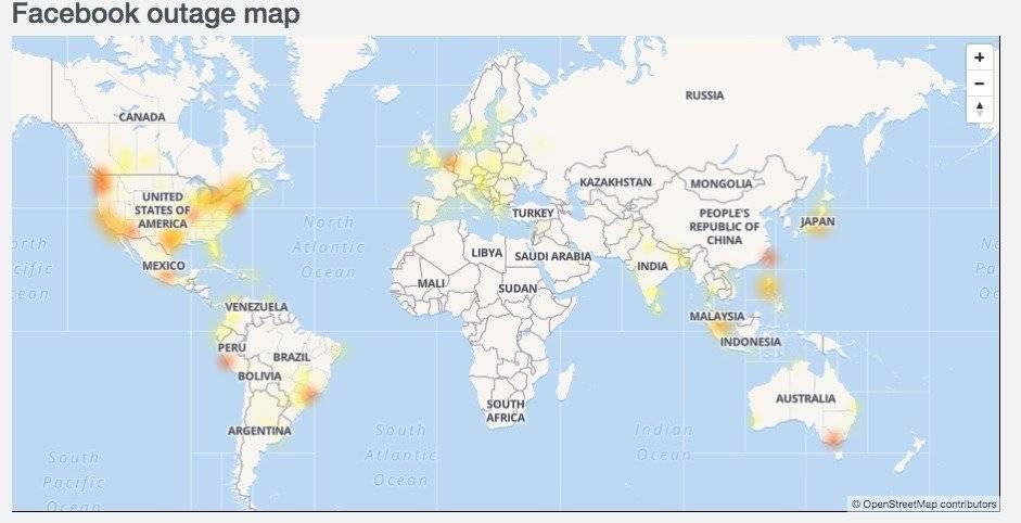Principales sitios donde se reporta la caída de Facebook en el mundo