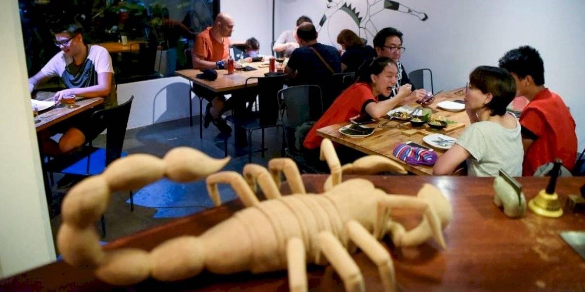 Tapas de escorpiones y tarántulas en un restaurante de Camboya