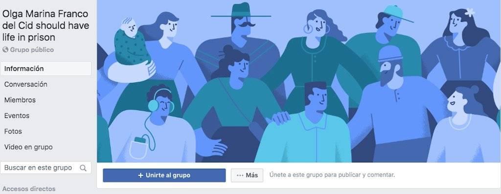 Grupo de Facebook en contra de la guatemalteca Olga Marina Franco del Cid. Foto: Facebook