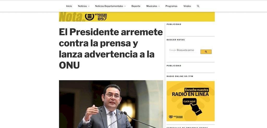 El presidente Jimmy Morales arremetió contra la prensa, nota de Emisoras Unidas. Foto: Publinews