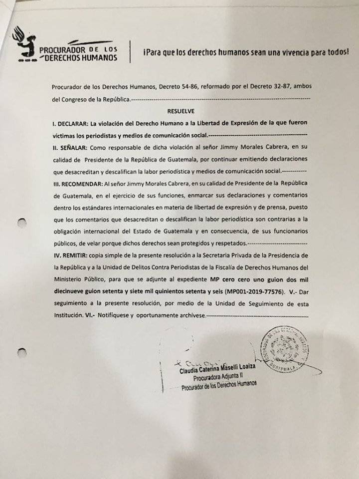 Resolución de la PDH contra el presidente Jimmy Morales. Foto: Omar Solís