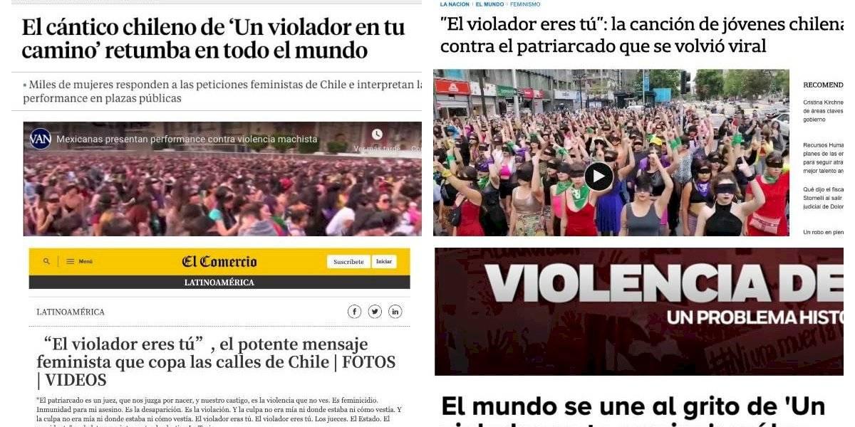 """El cántico de las mujeres chilenas """"retumba en todo el planeta"""": medios internacionales destacan que el mundo se unió al grito de """"Un violador en tu camino"""""""