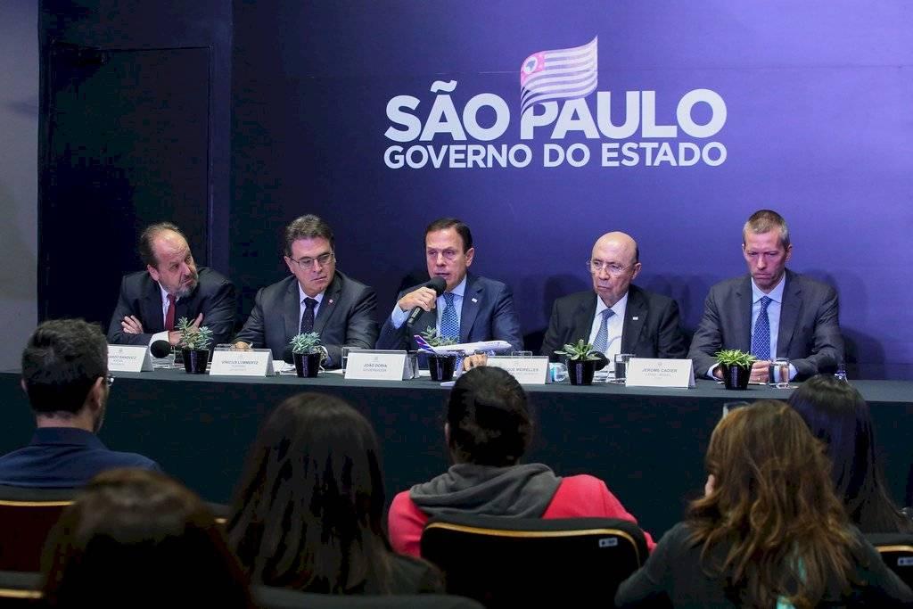 Governador João Doria com Henrique Meirelles, Vinicius Lummertz, e o CEO da LATAM Airlines Brasil, Jerome Cadier