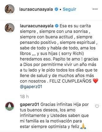 Laura Acuña y su papá
