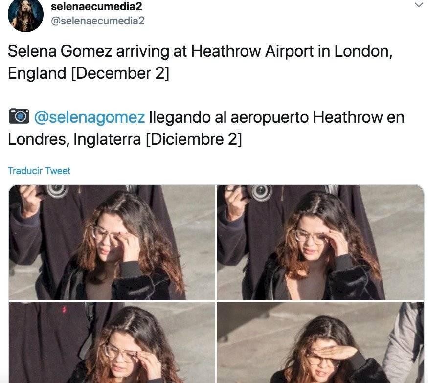 Selena llegando al aeropuerto de Londres-Heathrow, Inglaterra