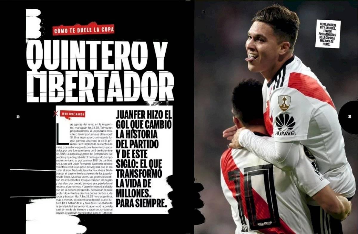 Juan Fernando Quintero en final de vuelta Copa Libertadores 2018