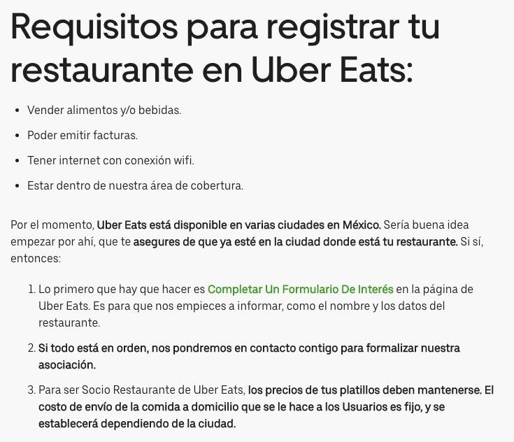 Uber Eats Restaurantes