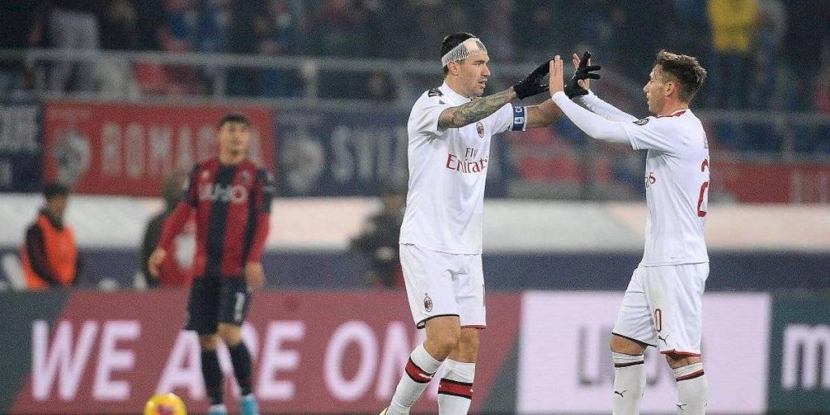 Milan derrotó en un cerrado partido al Bologna que no contó con el suspendido Gary Medel