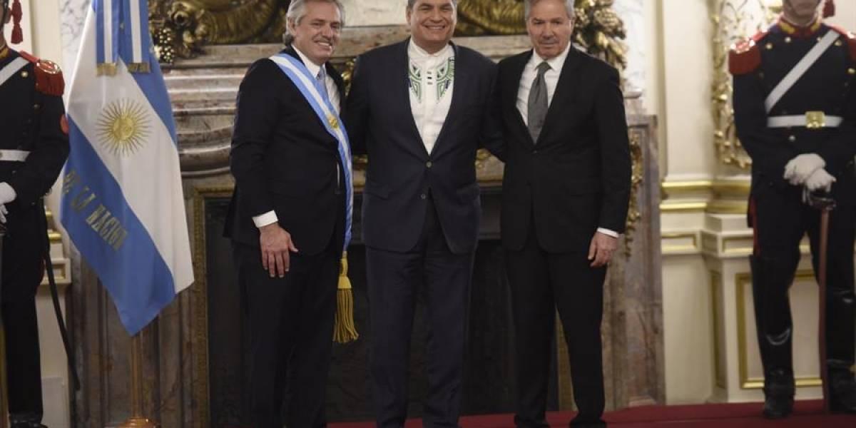 Rafael Correa en la posesión de Alberto Fernández como presidente de Argentina