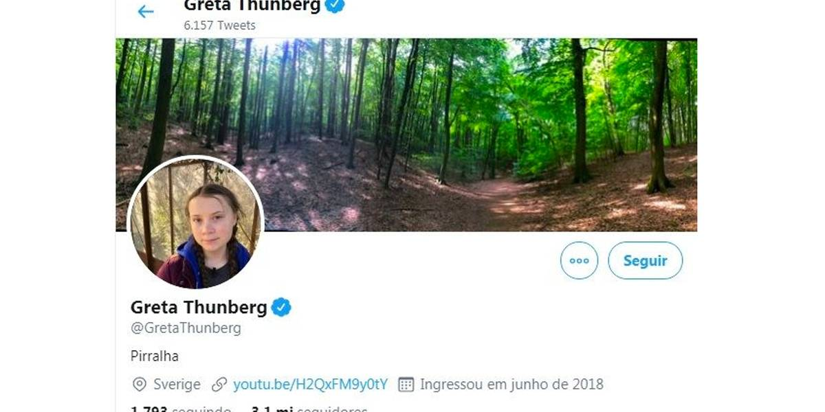 Greta Thunberg se define como 'pirralha' no Twitter após crítica de Bolsonaro