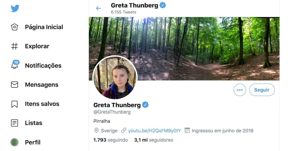 "Greta Thunberg - Twitter ""Pirralha"""