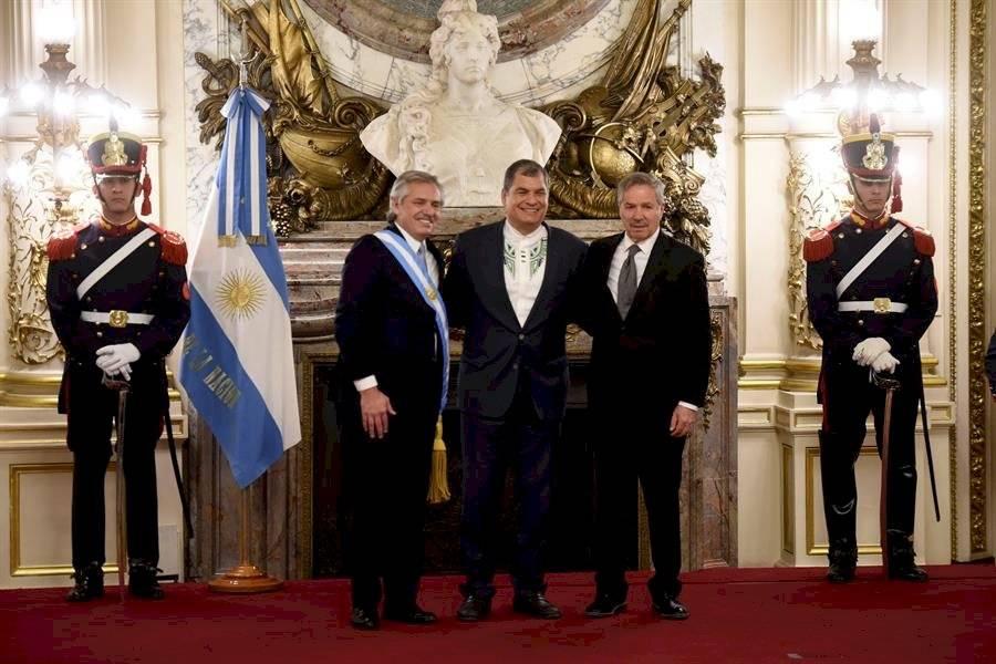 Rafael Correa en la posesión presidencial de Fernández en Argentina