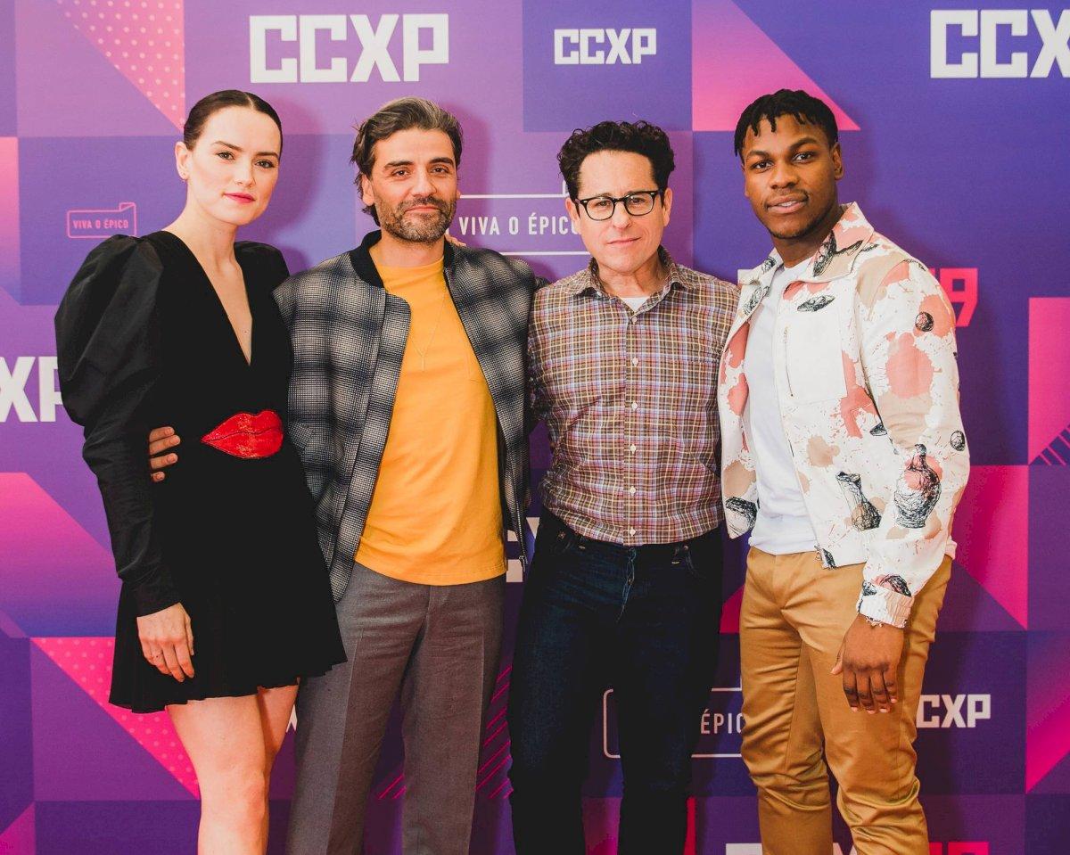Daisy Ridley, Oscar Isaac, J.J. Abrams y John Boyega en Comic Con Sao Paulo 2019