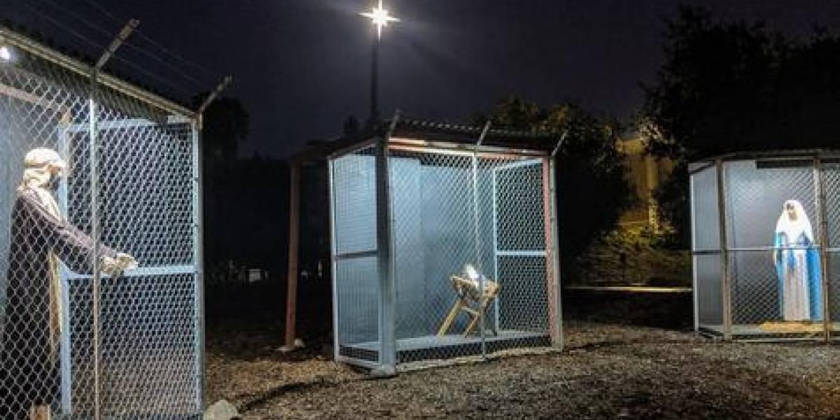 Presentan a Sagrada Familia como refugiados en jaulas