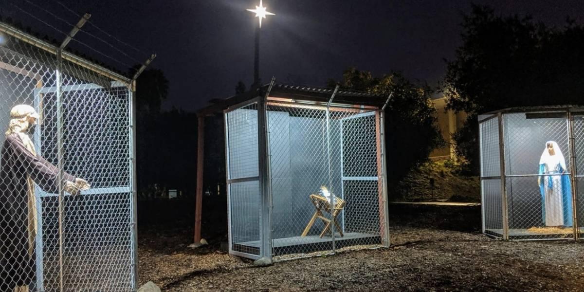 Representan a la Sagrada Familia como refugiados en jaulas