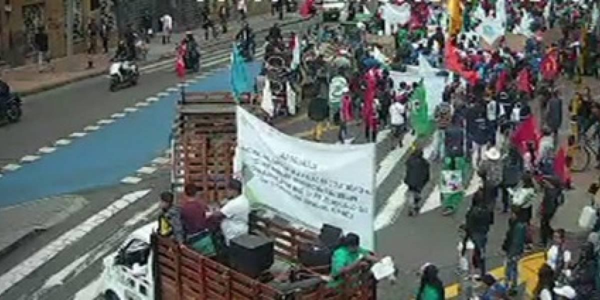 Recicladores marchan en apoyo al paro nacional al Concejo de Bogotá