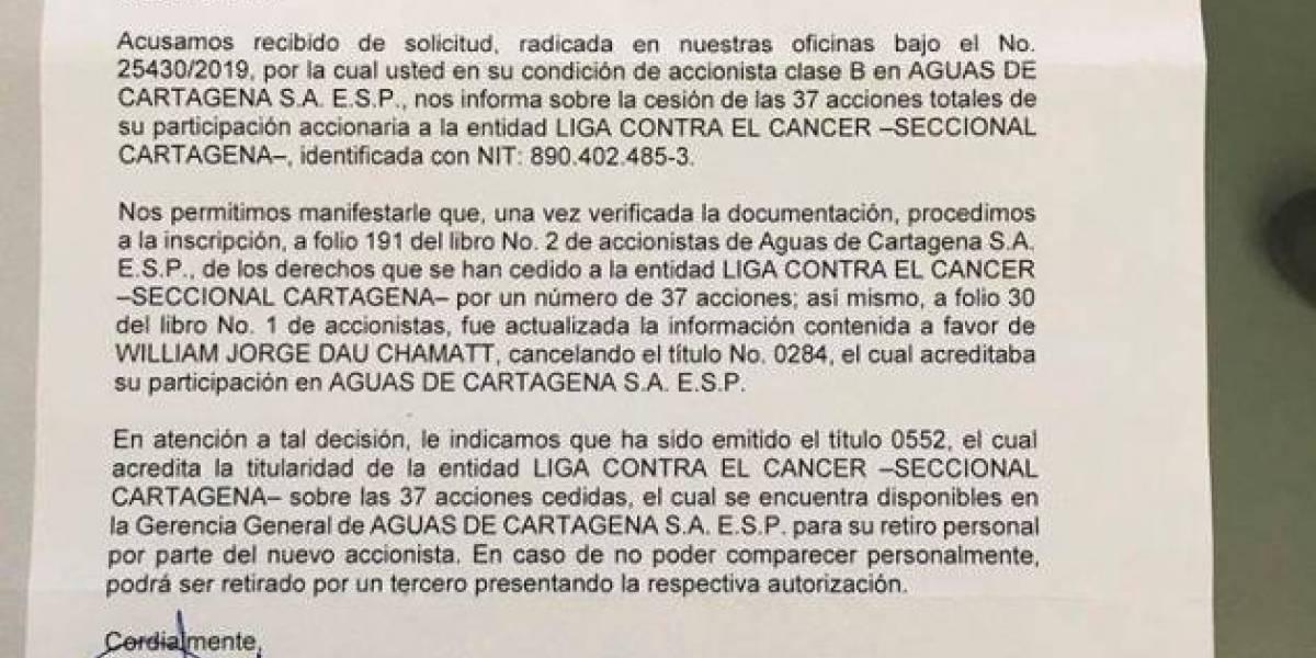Alcalde electo en Colombia donó acciones de su empresa a la Liga contra el Cáncer